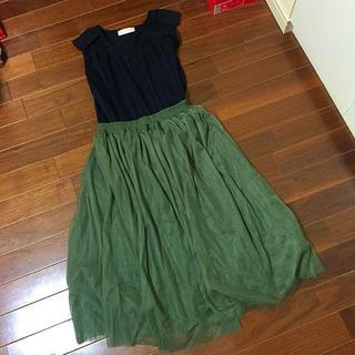 サルース(salus)の秋色カーキシフォンチュールスカート(ロングスカート)