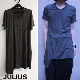 ユリウス(JULIUS)のJULIUS スラッシングカットソー 1 ダークグレー Tシャツ アシンメトリー(Tシャツ/カットソー(半袖/袖なし))