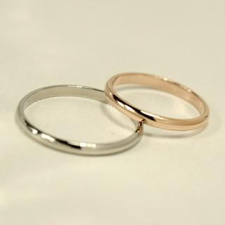 名入れ無料 平仮名 漢字可 スリム甲丸 ペア リング 2個 (リング(指輪))