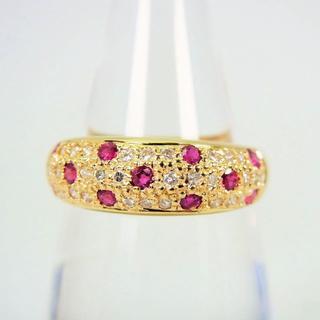 K18 ルビー ダイヤモンド パヴェ リング 15号[f30-19](リング(指輪))