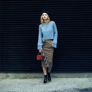 アメリヴィンテージ(Ameri VINTAGE)のフリル  タイトスカート  新品未使用  Ameri vintage(ひざ丈スカート)