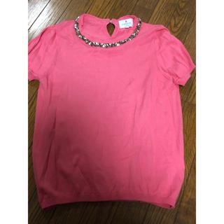 ランバンオンブルー(LANVIN en Bleu)の超美品★ランバンオンブルー ビジューネック ニットTシャツ 半袖(Tシャツ(半袖/袖なし))
