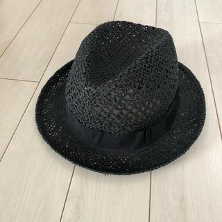 エイチアンドエム(H&M)のストローハット 麦わら帽子 黒(麦わら帽子/ストローハット)