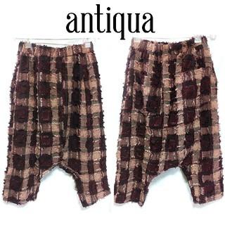 アンティカ(antiqua)のアンティカ 個性的 サルエルパンツ フリンジ ブロックチェック レディース(サルエルパンツ)