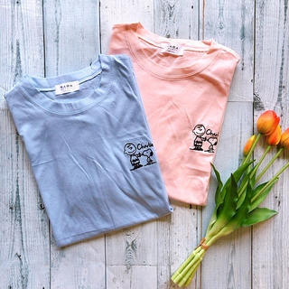 スヌーピー(SNOOPY)の✩新品✩ 韓国 スヌーピー チャーリーブラウン 刺繍 Tシャツ(Tシャツ(半袖/袖なし))