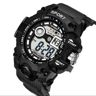 SYNOKE 多機能 30m防水 LEDデジタルスポーツ腕時計 ブラック(腕時計(デジタル))