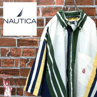 ノーティカ(NAUTICA)の【激レア】ノーティカ☆90s刺繍ロゴ ストライプBDシャツ(シャツ)