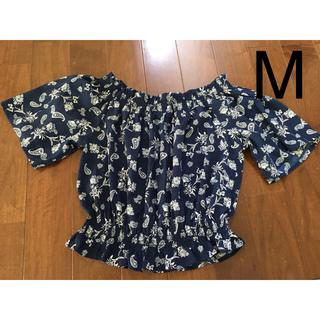 ジーユー(GU)のGU ペイズリー オフショルダー ブラウス ネイビー M(シャツ/ブラウス(半袖/袖なし))