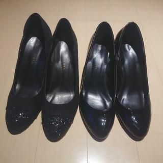 vanitybeauty - バニティービューティー黒ヒールパンプス2足セット♪サイズ24