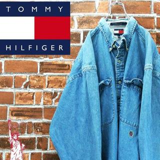 トミーヒルフィガー(TOMMY HILFIGER)の【激レア最高の色落ち】トミーヒルフィガー☆XLビッグサイズ90s デニムシャツ(シャツ)