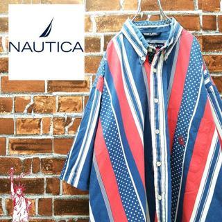 ノーティカ(NAUTICA)の【入手困難着丈84㎝】ノーティカ☆90s刺繍ロゴ ストライプBDシャツ(シャツ)