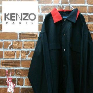 ケンゾー(KENZO)のKENZOケンゾー☆バイカラービッグサイズ ダブルポケット ブラックシャツ(シャツ)
