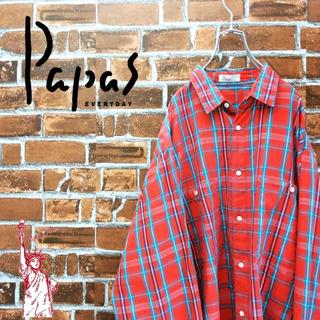 Papasパパス☆ロゴタグビッグサイズ チェックシャツ(シャツ)