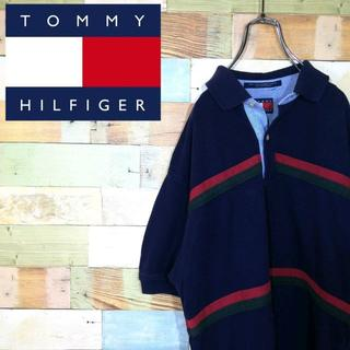 トミーヒルフィガー(TOMMY HILFIGER)のトミーヒルフィガー☆90sボーダー柄旧エンブレム刺繍ロゴポロシャツ(ポロシャツ)