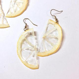 サマーピアス  ハーフレモン 押しフルーツ(ピアス)