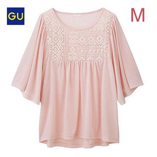 ジーユー(GU)のGU レースコンビT Mサイズ/ピンク 新品タグ付き!ジーユー(Tシャツ(長袖/七分))