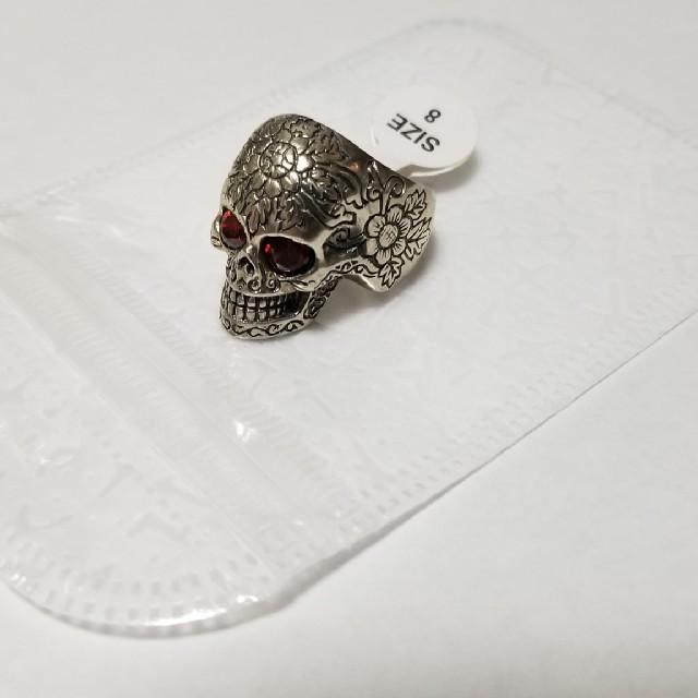 メンズリング スカル レッドアイ シルバー925製 メンズのアクセサリー(リング(指輪))の商品写真