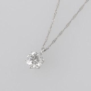 ジュエリーマキ - 極美品 高級 プラチナ 大粒 一粒 ダイヤモンド ネックレス チェーン付き!!