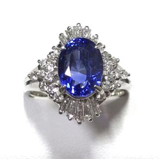 【美品】3.87ctサファイア、0.655ctダイヤ付、Pt900プラチナリング(リング(指輪))