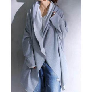 アンティカ(antiqua)のantiqua アンティカ 変形ショールパーカー 羽織り グレー(パーカー)