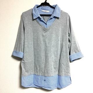 重ね着風7分丈シャツ(ブルー)(シャツ/ブラウス(長袖/七分))