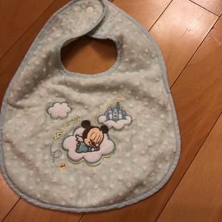 ミッキーマウス(ミッキーマウス)のスタイ ミッキー ベビー ブルー 美品 よだれかけ(ベビースタイ/よだれかけ)