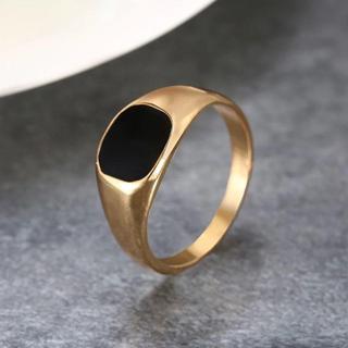 ブラックスクエアリング 10mm ゴールド 単品(リング(指輪))