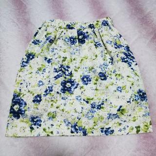 レッセパッセ(LAISSE PASSE)のレッセパッセ シアーチェックフラワースカート(ひざ丈スカート)