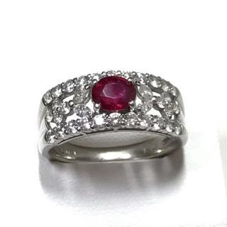 【美品】0.81ctルビー、0.94ctダイヤモンド付、Pt900プラチナリング(リング(指輪))