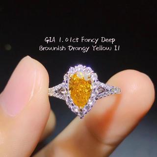 Gia♡1.01ctファンシーディープブラウンオレンジイエローダイヤリング(リング(指輪))
