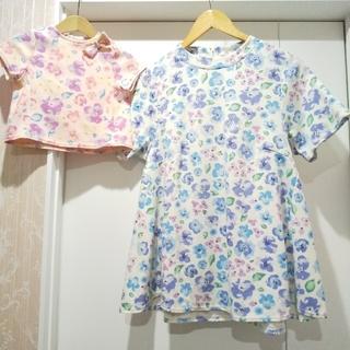 サニーランドスケープ(SunnyLandscape)のサニーランドスケープ 花柄半袖Tシャツとママ花柄半袖チュニックの2枚セット(Tシャツ/カットソー)