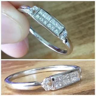 華奢可愛い❣️プリンセスカット✨ダイヤ リング ホワイトゴールド 指輪 約20号(リング(指輪))