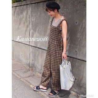 カスタネ(Kastane)の新品♡チェック裾リボンオールインワン(オールインワン)