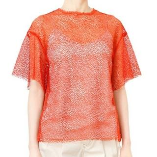 ルシェルブルー(LE CIEL BLEU)のLE CIEL BLUE ルシェルブルー トップス Tシャツ メッシュ オレンジ(カットソー(半袖/袖なし))