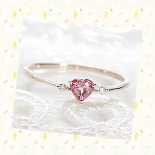 美品 K18 ピンクゴールド リング トルマリン(リング(指輪))