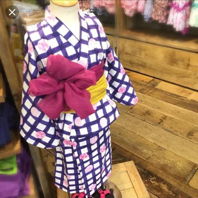 ampersand(アンパサンド)の新品 ampersand アンパサンド 浴衣 ワンピース型 帯 女の子 90 キッズ/ベビー/マタニティのキッズ服 女の子用(90cm~)(甚平/浴衣)の商品写真