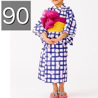 アンパサンド(ampersand)の新品 ampersand アンパサンド 浴衣 ワンピース型 帯 女の子 90(甚平/浴衣)