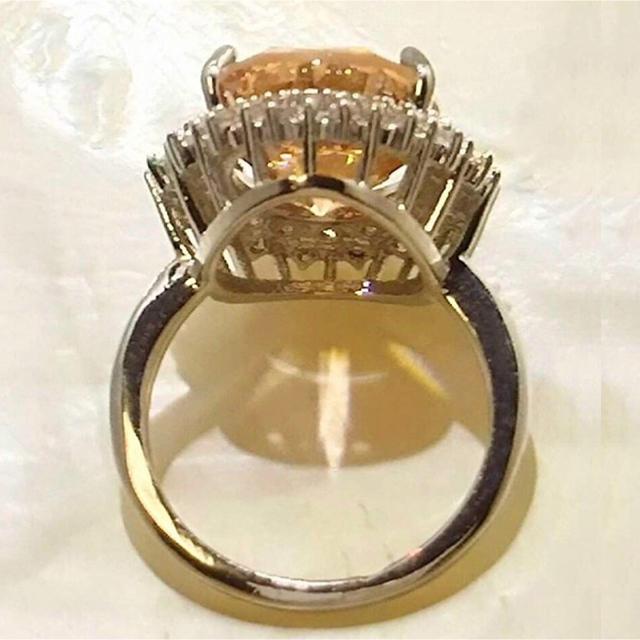 リング 指輪 CZダイヤモンド 13号 オレンジ 可愛い セレブ レディースのアクセサリー(リング(指輪))の商品写真