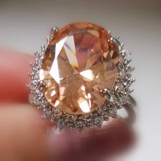 リング 指輪 CZダイヤモンド 13号 オレンジ 可愛い セレブ(リング(指輪))