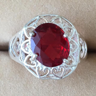 (5)ルビーカラーのリング シルバー アンティーク(リング(指輪))