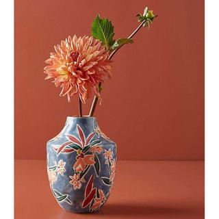 アンソロポロジー(Anthropologie)のアンソロポロジー 花瓶 フラワーベース ブルー オブジェ(花瓶)