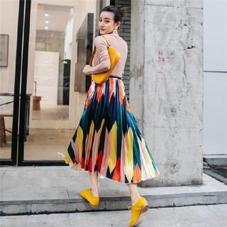 アメリヴィンテージ(Ameri VINTAGE)の柄プリーツスカート(ひざ丈スカート)
