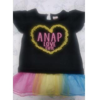 アナップキッズ(ANAP Kids)のANAP80サイズ  Tシャツ (黒)(Tシャツ)