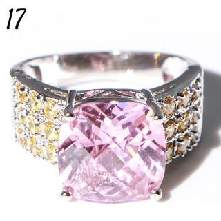 P3 リング 17号 人工石 ピンク 大粒 キュート 大ぶり 大きいサイズ(リング(指輪))