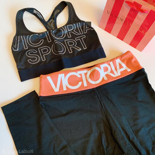 ヴィクトリアズシークレット(Victoria's Secret)の【新品】VS スポーツブラ レギンス セットアップ ピンク M(ヨガ)