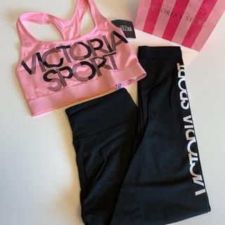 ヴィクトリアズシークレット(Victoria's Secret)の【新品】VS スポーツブラ レギンス セットアップ ピンク XS(ヨガ)
