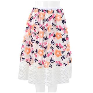 チェスティ(Chesty)の新品 チェスティ カラーレーススカート オレンジ サイズ0(ひざ丈スカート)