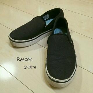 リーボック(Reebok)の24.0cm【Reebok】BLACK(スリッポン/モカシン)