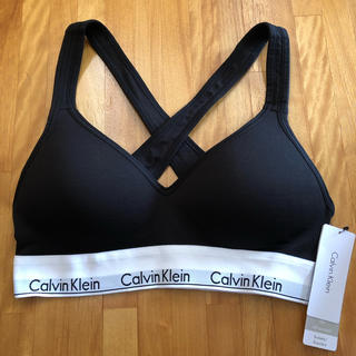 カルバンクライン(Calvin Klein)のカルバンクライン S ブラ インナー 下着 ブラレット パッド カップ ブラック(ブラ)