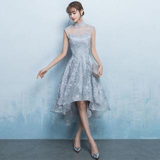 グレー上品セクシーな星柄レース刺繡ハイネック結婚式パーティーチャイナドレス(その他ドレス)